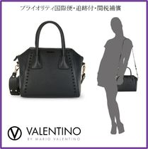 VALENTINO Studded 2WAY Plain Leather Totes