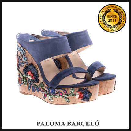 Flower Patterns Open Toe Suede Platform & Wedge Sandals