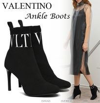 VALENTINO Monogram Street Style Leather Pin Heels High Heel Boots