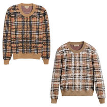 Burberry Crew Neck Tartan Other Check Patterns Casual Style Wool Rib