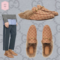 GUCCI Monogram Blended Fabrics Chain U Tips Loafers & Slip-ons