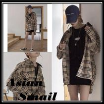 Other Check Patterns Casual Style Long Sleeves Cotton Medium