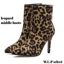 Leopard Patterns Casual Style High Heel Boots