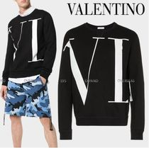 VALENTINO Crew Neck Monogram Unisex Street Style Long Sleeves Cotton