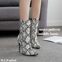 Casual Style Python High Heel Boots