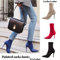 Casual Style Plain Pin Heels Mid Heel Boots