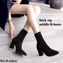Casual Style Plain Chunky Heels High Heel Boots