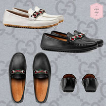 GUCCI Stripes Driving Shoes Blended Fabrics Chain Plain Leather