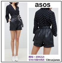 ASOS Short Casual Style Faux Fur Leather & Faux Leather Shorts