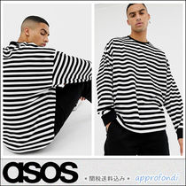 ASOS Crew Neck Pullovers Stripes Street Style Long Sleeves Cotton