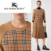 Burberry Crew Neck Gingham Casual Style Wool Long Sleeves Sweaters