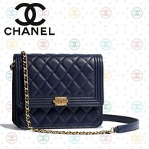 CHANEL Calfskin Chain Plain Party Style Shoulder Bags