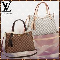 Louis Vuitton DAMIER Canvas Blended Fabrics A4 Fringes Elegant Style Handbags