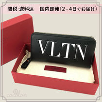 VALENTINO Unisex Plain Leather Long Wallets