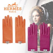 HERMES Kelly Plain Leather Elegant Style Leather & Faux Leather Gloves