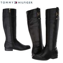 Tommy Hilfiger Round Toe Plain Leather Flat Boots
