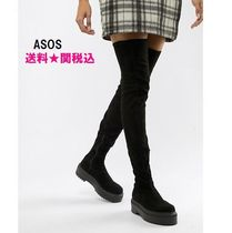 ASOS Round Toe Casual Style Suede Plain Over-the-Knee Boots