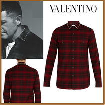 VALENTINO Other Check Patterns Street Style Long Sleeves Cotton Shirts