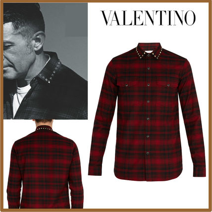 VALENTINO Shirts Other Check Patterns Street Style Long Sleeves Cotton Shirts