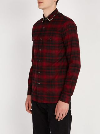 VALENTINO Shirts Other Check Patterns Street Style Long Sleeves Cotton Shirts 4