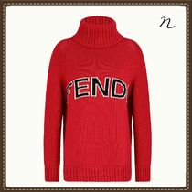 FENDI Cable Knit Wool Long Sleeves Plain High-Neck Knitwear