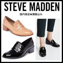 Steve Madden Square Toe Enamel Plain Block Heels Loafer Pumps & Mules