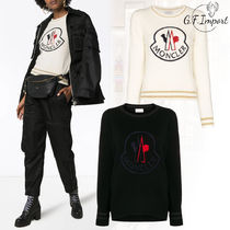MONCLER Crew Neck Casual Style Wool Long Sleeves Sweaters
