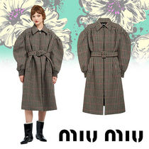 MiuMiu Other Check Patterns Wool Long Elegant Style Chester Coats