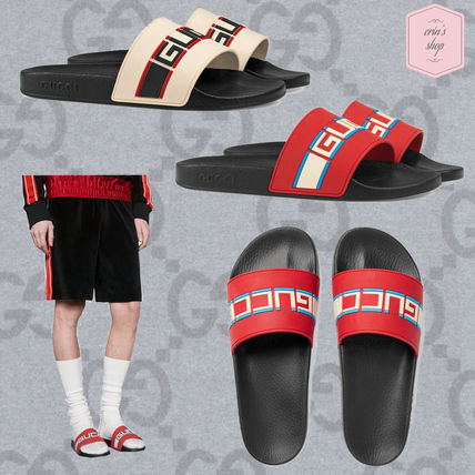 ad7af016a43 ... GUCCI Shower Sandals Stripes Street Style Shower Shoes Shower Sandals  ...