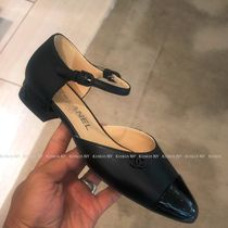 CHANEL Plain Toe Bi-color Plain Leather Block Heels Elegant Style