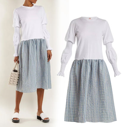 Casual Style Flared Long Sleeves Medium Dresses