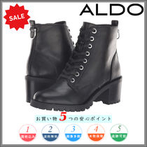 ALDO Round Toe Casual Style Plain Leather Chunky Heels