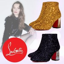 Christian Louboutin Velvet Plain Chunky Heels Ankle & Booties Boots