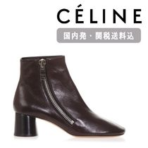 CELINE Round Toe Plain Leather Block Heels Elegant Style Bold