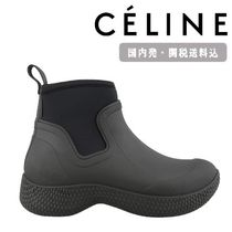 CELINE Round Toe Rubber Sole Casual Style Street Style Plain