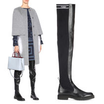 FENDI Round Toe Rubber Sole Plain Leather Over-the-Knee Boots