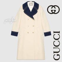GUCCI Wool Plain Long Elegant Style Coats
