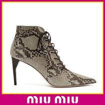 MiuMiu Leather Pin Heels Python Ankle & Booties Boots