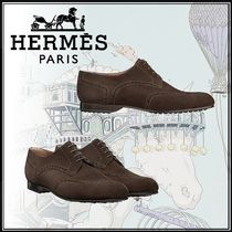 HERMES Velvet Street Style Plain U Tips Oxfords