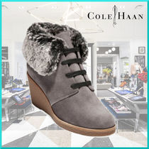 Cole Haan Suede Plain Elegant Style Wedge Boots