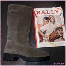 BALLY Round Toe Rubber Sole Suede Plain Elegant Style