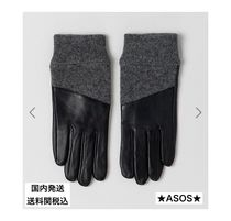 ASOS Blended Fabrics Plain Leather Leather & Faux Leather Gloves