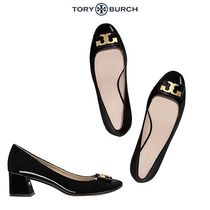 Tory Burch Round Toe Plain Leather Kitten Heel Pumps & Mules