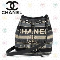 CHANEL DEAUVILLE Stripes Canvas 2WAY Chain Elegant Style Backpacks