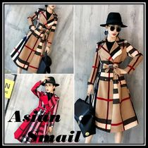 Other Check Patterns Long Elegant Style Chester Coats