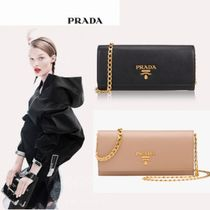 PRADA SAFFIANO LUX Chain Plain Leather Long Wallets