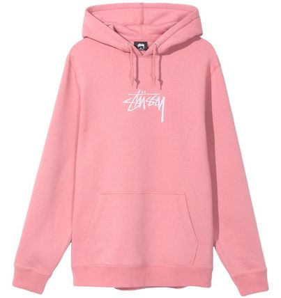 STUSSY Hoodies Pullovers Street Style Long Sleeves Plain Cotton Oversized 2