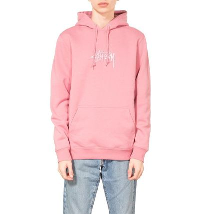 STUSSY Hoodies Pullovers Street Style Long Sleeves Plain Cotton Oversized 3