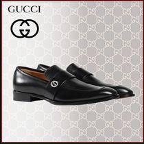 GUCCI Plain Toe Loafers Blended Fabrics Street Style Plain Leather