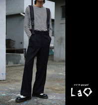 Slax Pants Unisex Street Style Plain Cotton Oversized